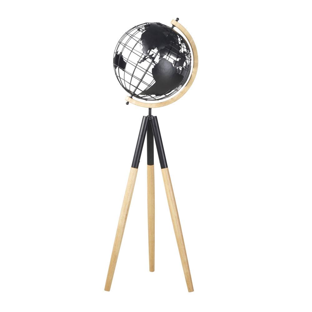Globe terrestre trépied carte du monde en fer recyclé noir et hévéa
