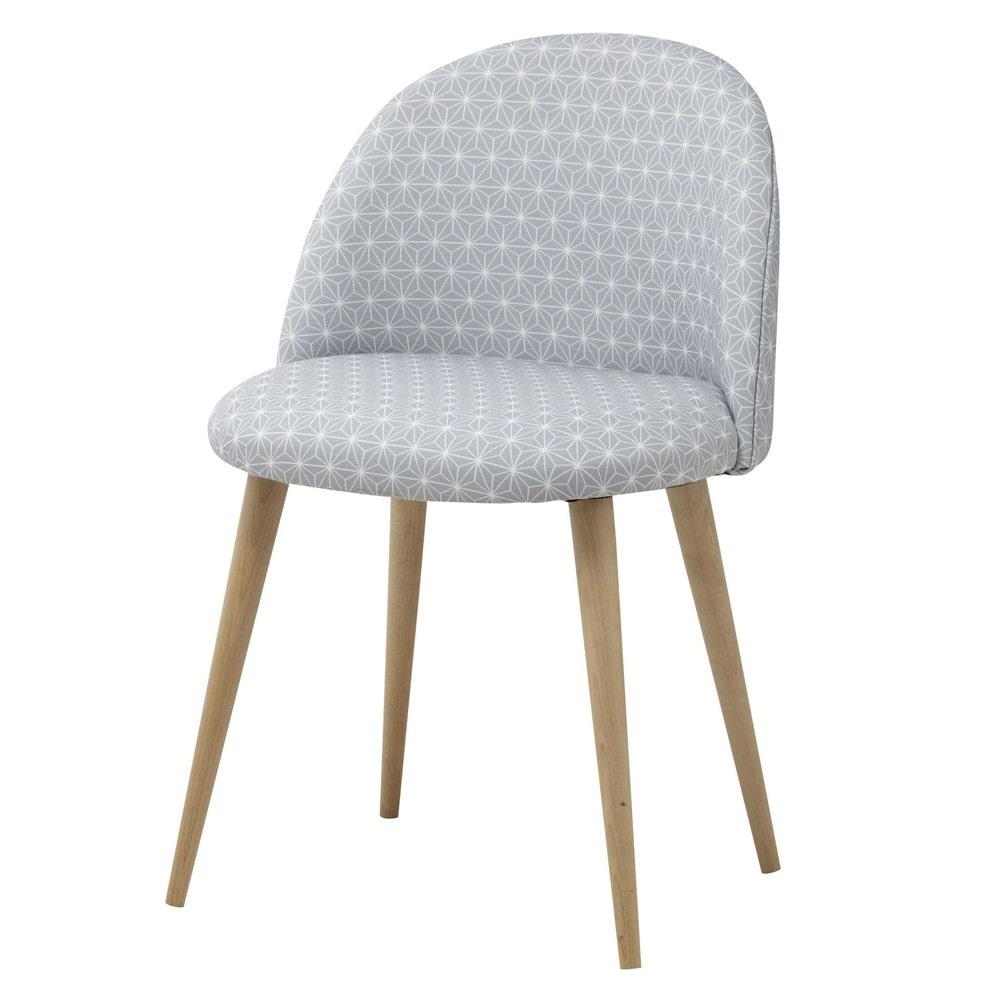 Grauer Stuhl im Vintage-Stil mit Sternenmuster und Birkenholz