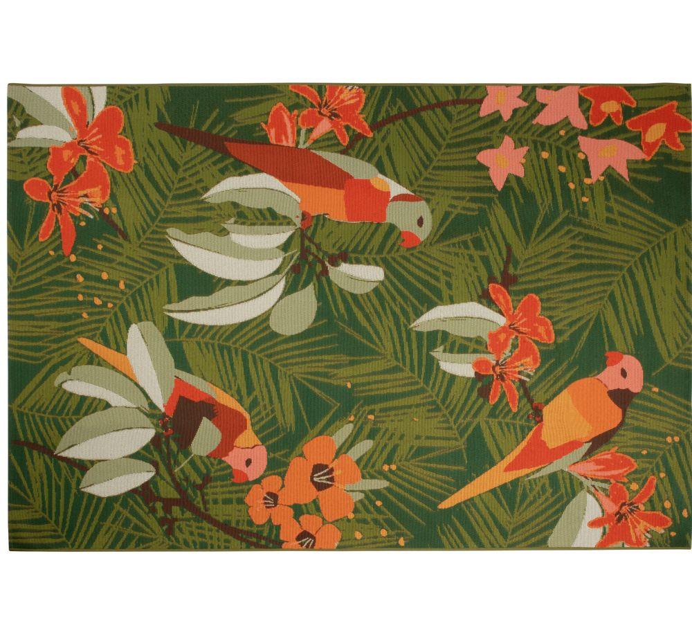 Groen Geweven Tuintapijt Van Polypropyleen Met Meerkleurige Plantenprint 160 X 230 Cm