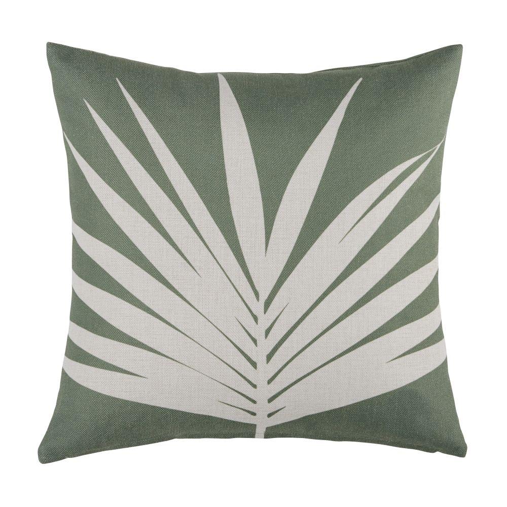 Groene Buitenkussens Met Gebroken Witte Bladerenprint 45 X 45 Cm