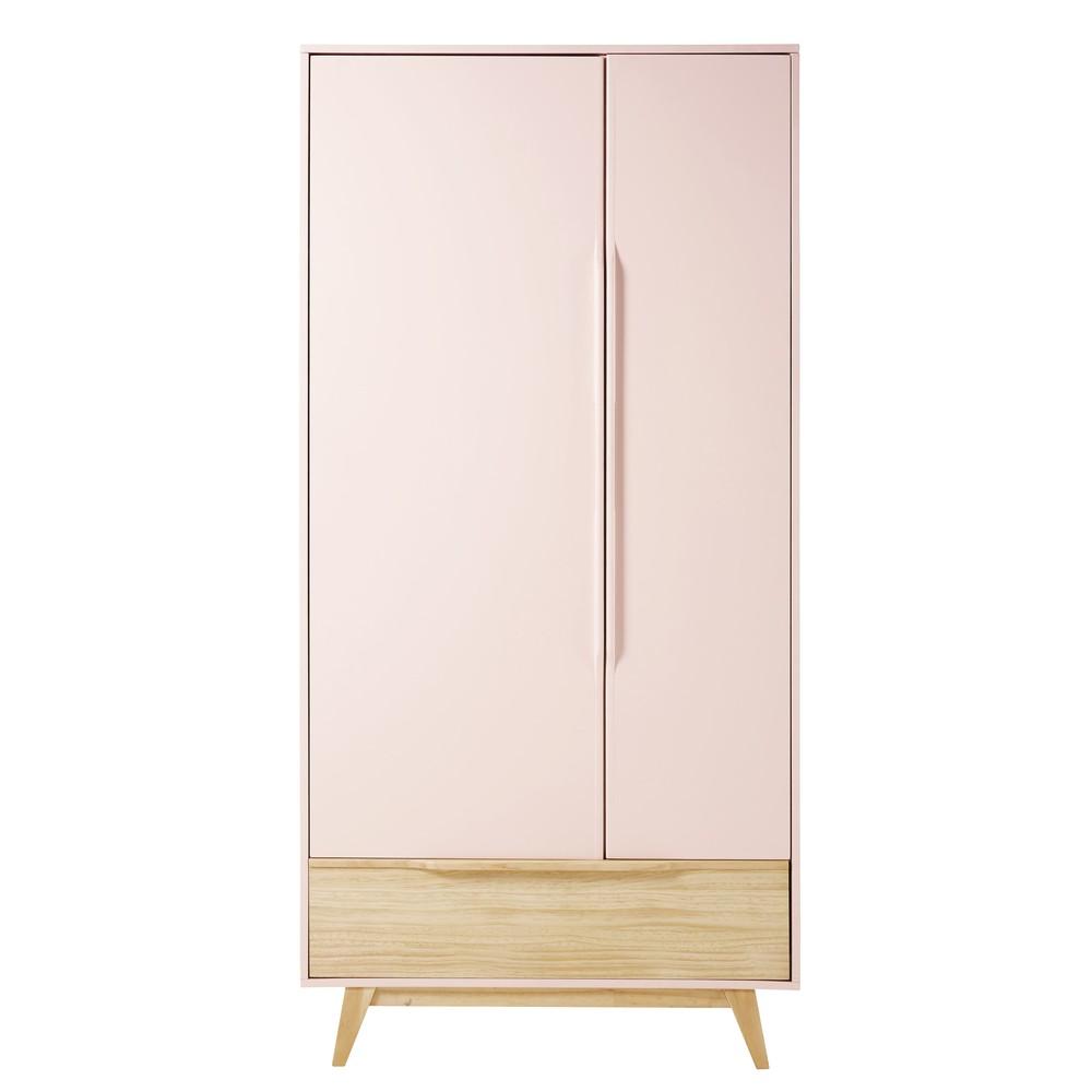 Guardaroba vintage a 2 ante e 1 cassetto rosa chiaro
