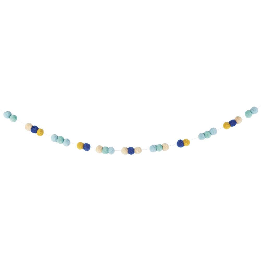 Guirlande à pompons jaunes, écrus, bleus et verts L180
