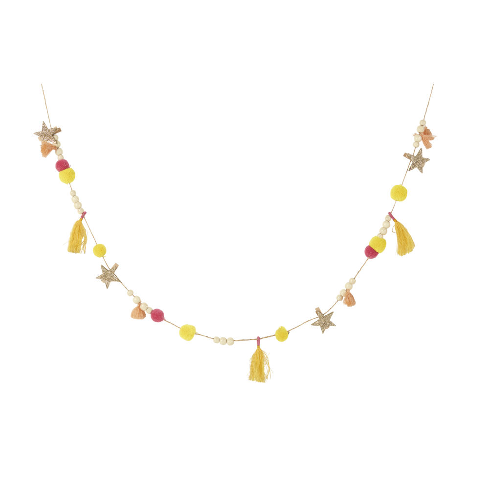 Guirlande décorative jaune, rose et dorée L180
