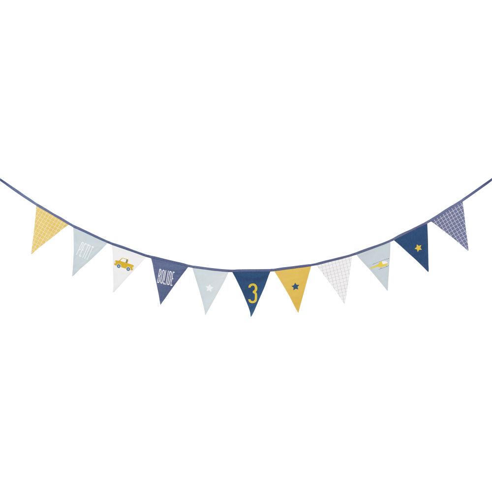 Guirlande fanions en coton imprimé bleu et jaune moutarde L200