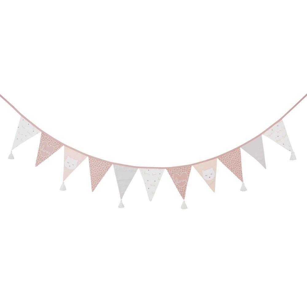 Guirlande fanions en coton imprimé rose, gris et blanc L240