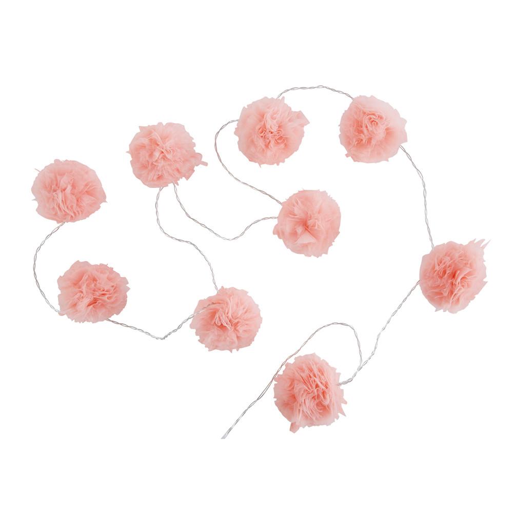 Guirlande lumineuse 9 LED pompons roses L214