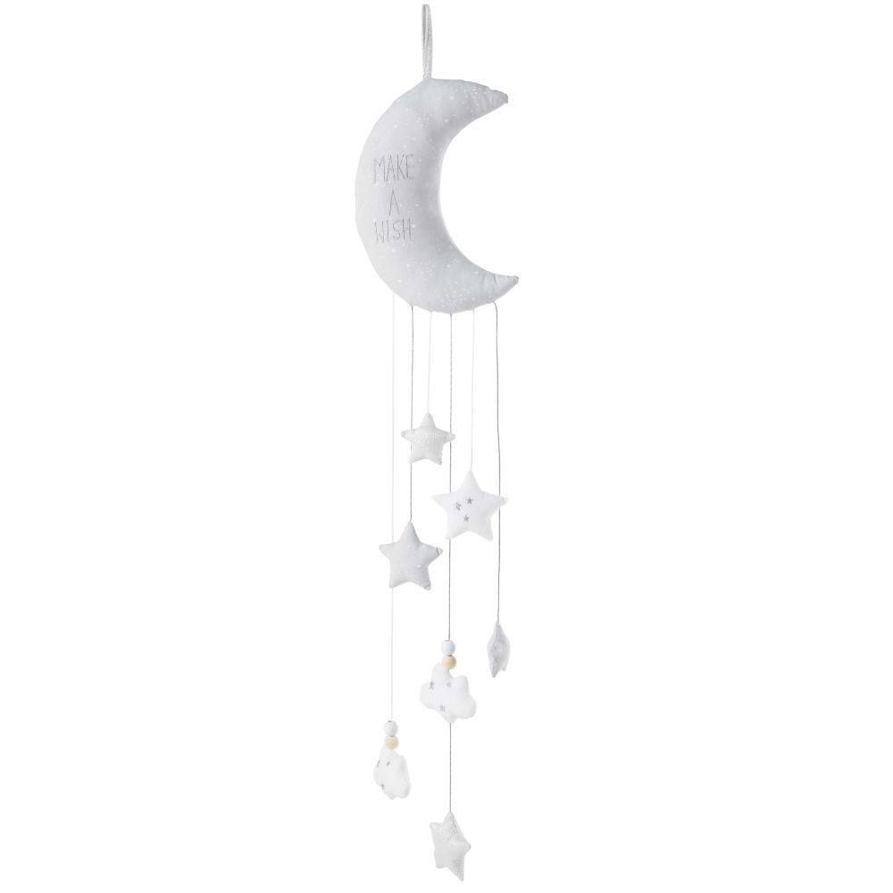 Guirlande lune enfant en coton gris et argent H95