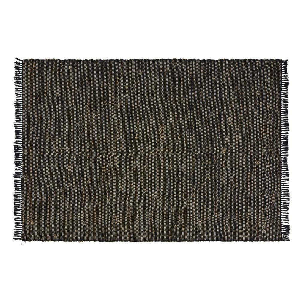 Handgemaakt Zwart Tapijt Van Katoen En Jute 140 X 200 Cm