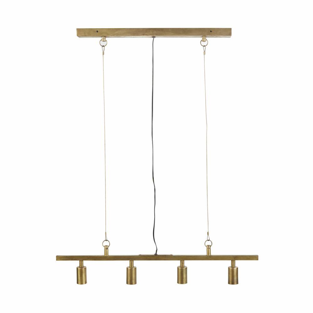 Hanglamp Balk Met 4 Lamphouders Van Goudkleurig Metaal Met Verweerd Effect