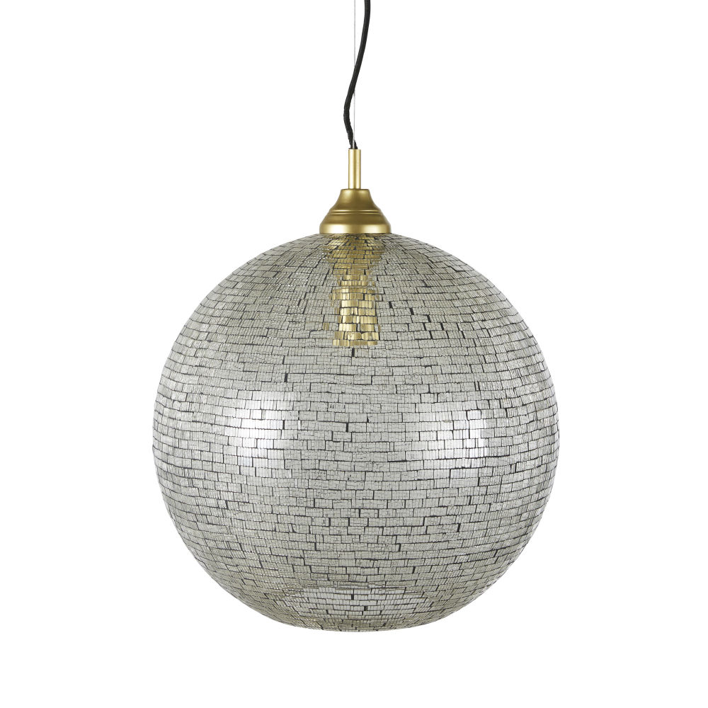 Hanglamp Met Goud- En Zilverkleurige Glazen Mozaïeken