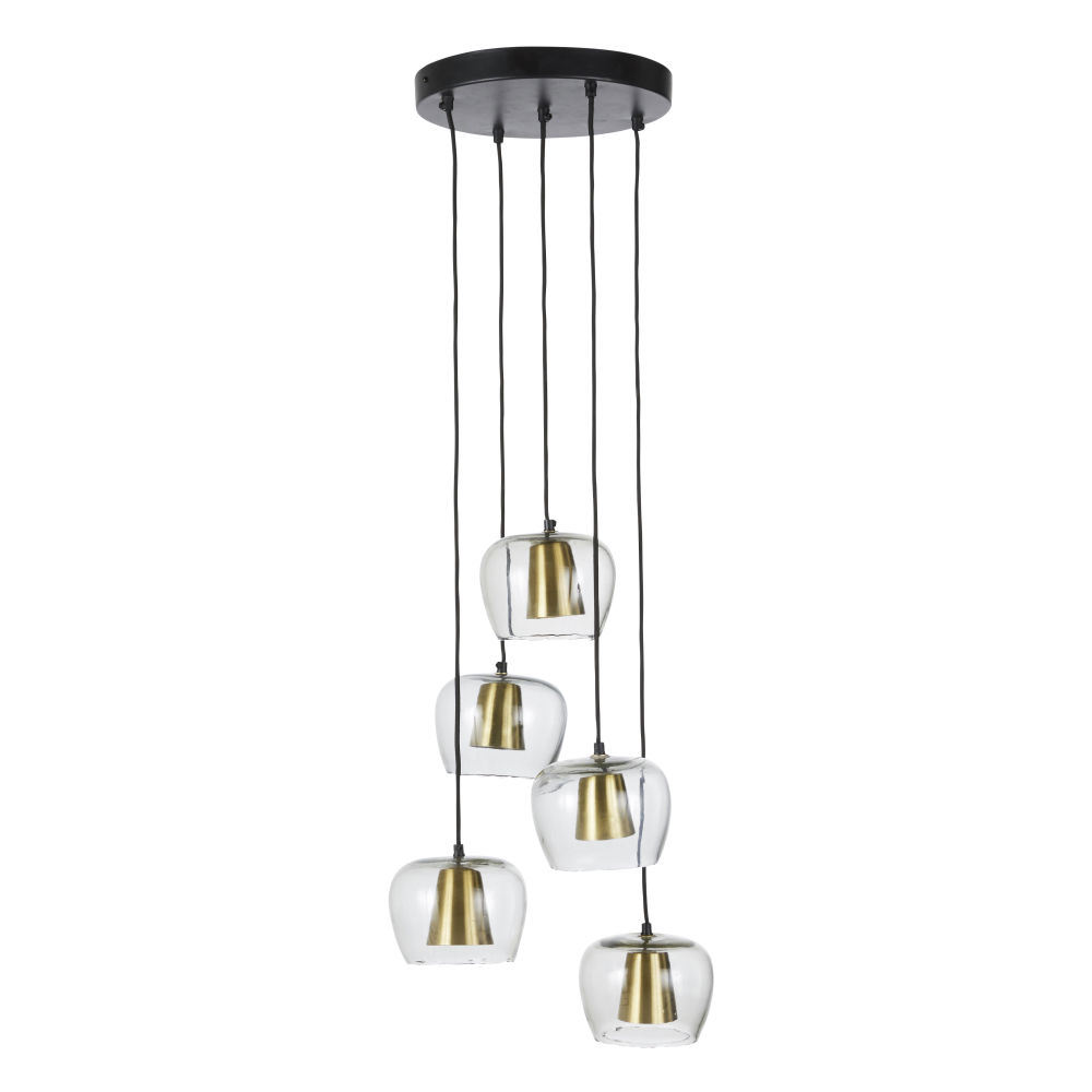 Hanglamp Uit Glas En Mat Verguld Metaal Met 5 Lampenkappen
