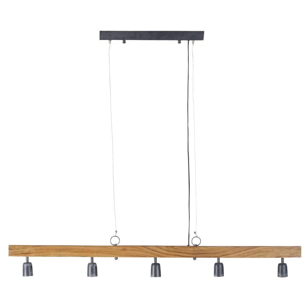 Hanglamp Uit Mangohout En Zwart Metaal