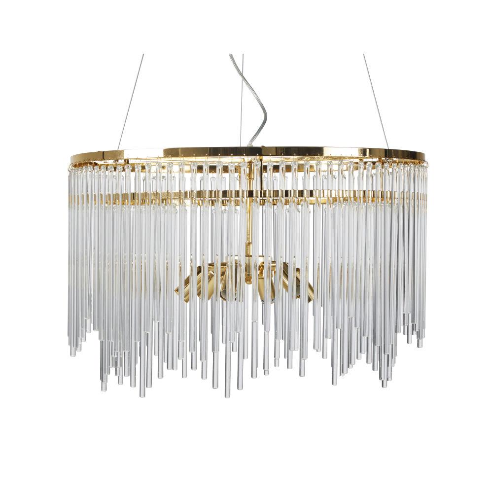 Hanglamp Van Glazen Buizen Met Verguld Metaal