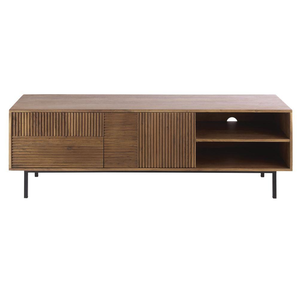 Hazelnootbruine Tv-meubel Met 2 Gestreepte Deuren