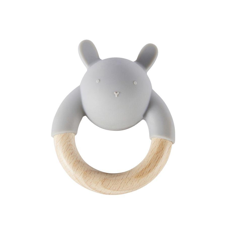 Hochet bébé lapin en hêtre et silicone gris