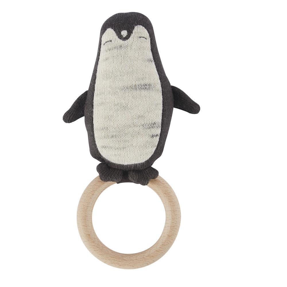 Hochet bébé pingouin en coton tricoté gris, blanc et marron