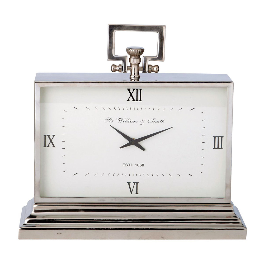 Horloge à poser en métal effet chromé L47