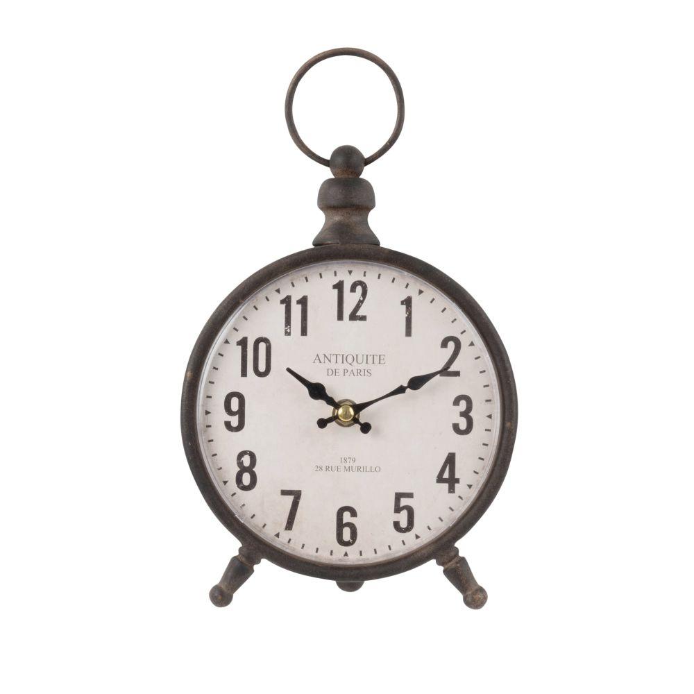 Horloge à poser en métal noir et papier blanc 17x28