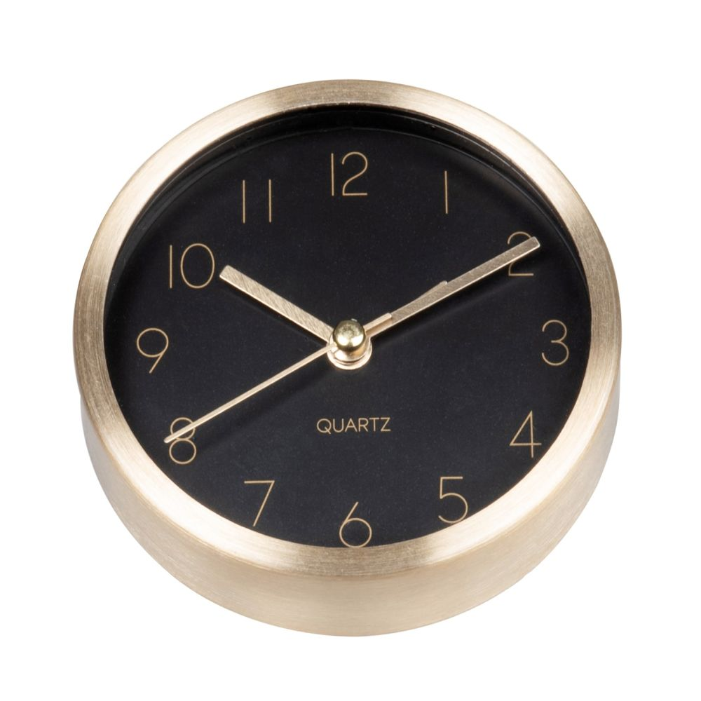 Horloge à poser noire et dorée D9
