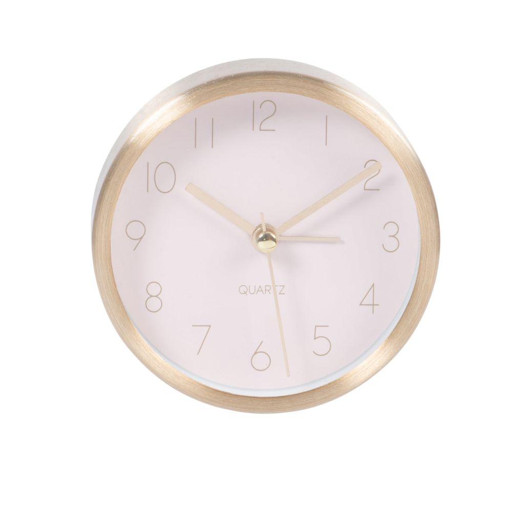 Horloge à poser rose et dorée D9