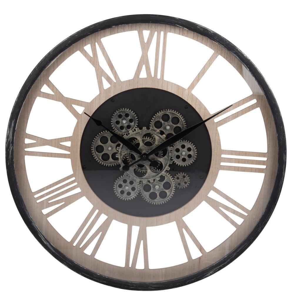 Horloge à rouages coloris naturel et noir D58