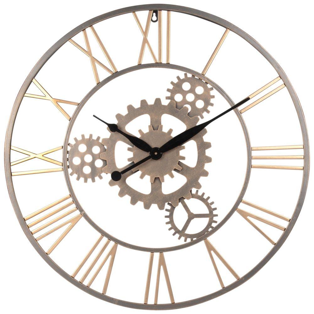 Horloge à rouages en métal doré D68