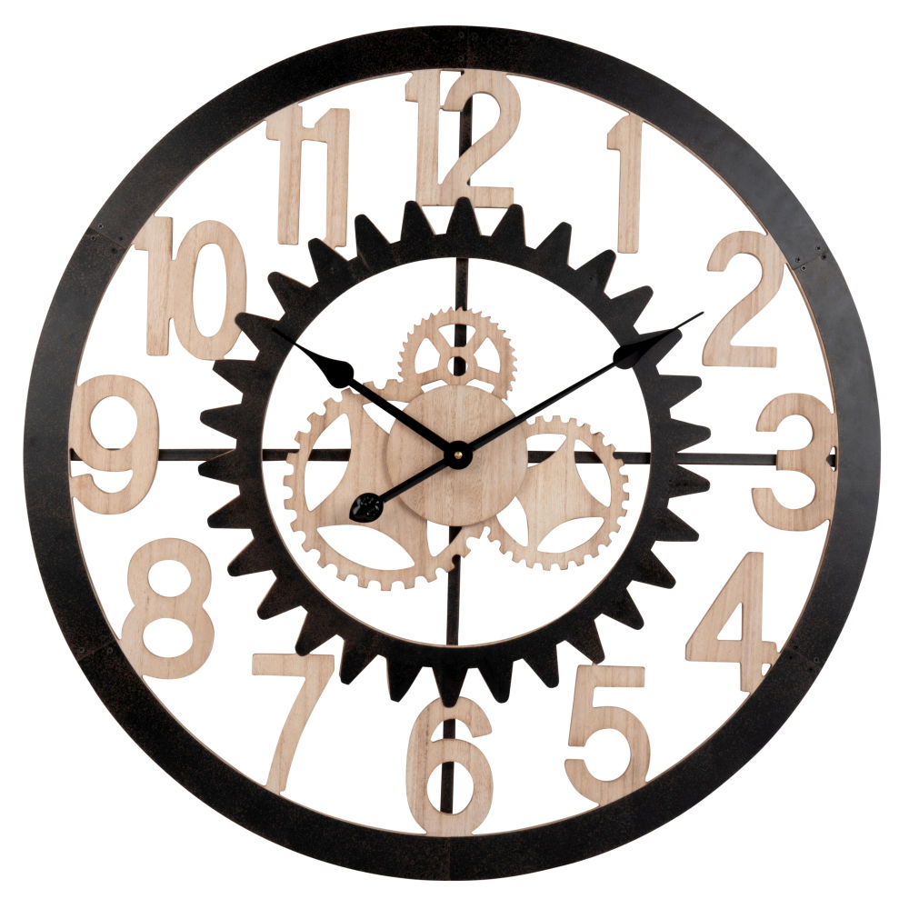 Horloge à rouages en métal noir D70