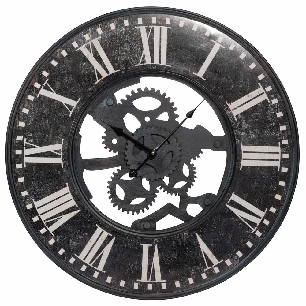 Horloge à rouages en métal noir effet vieilli D60