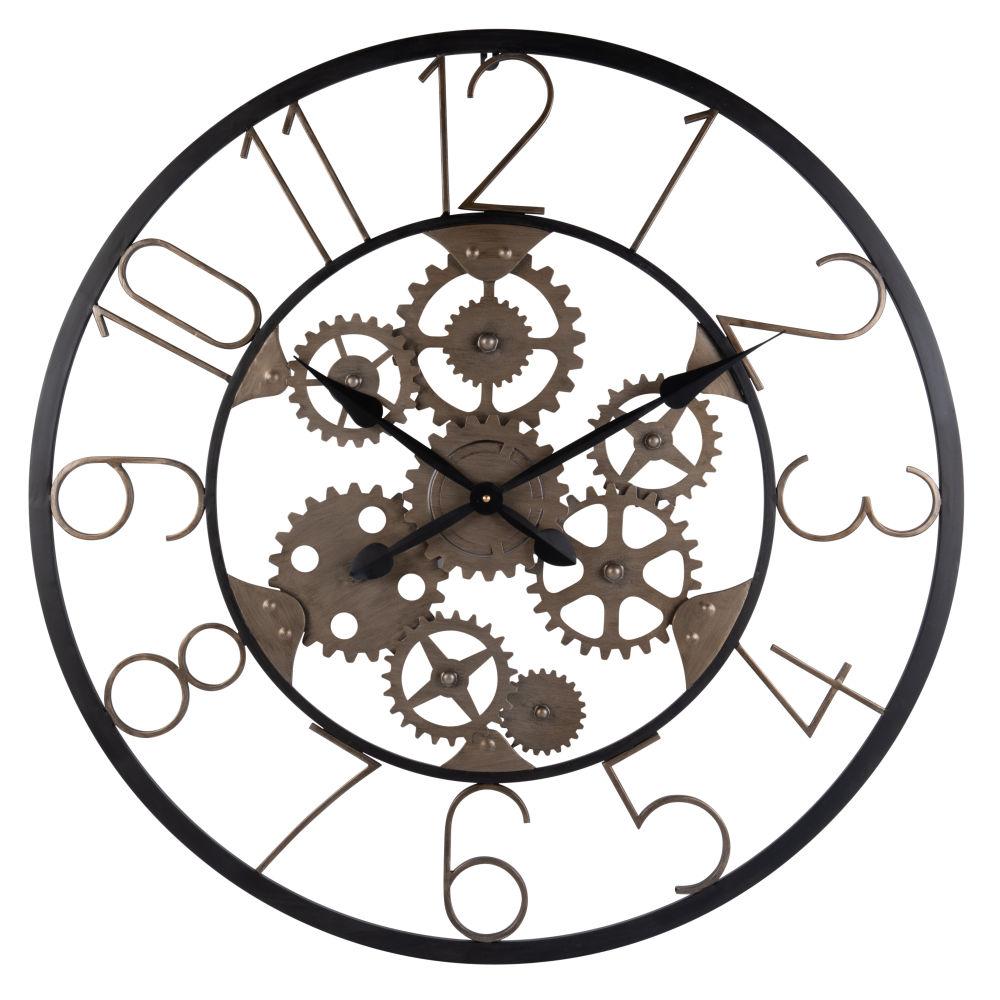 Horloge à rouages en métal noir et effet rouille D80