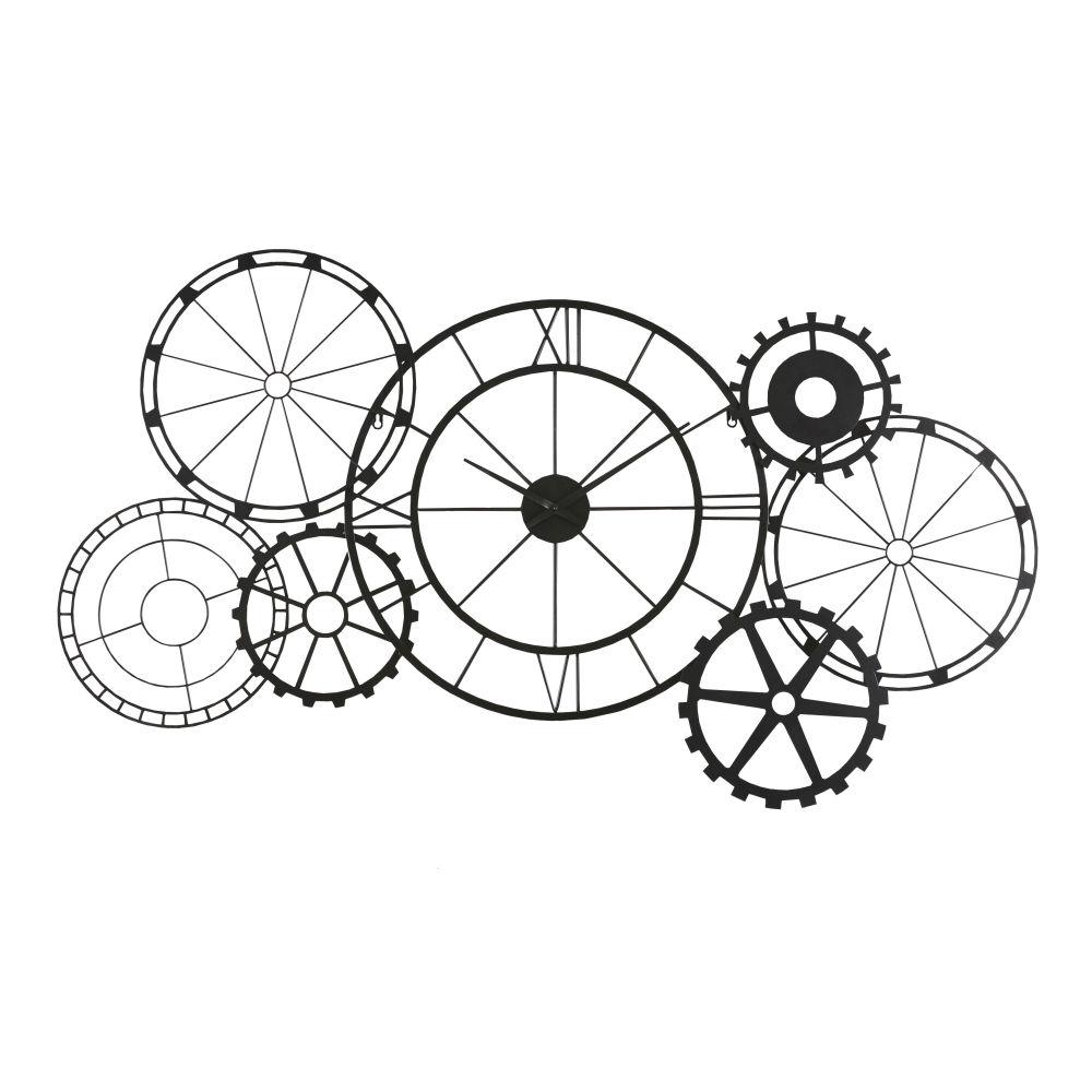 Horloge à rouages en métal noir mat 141x72