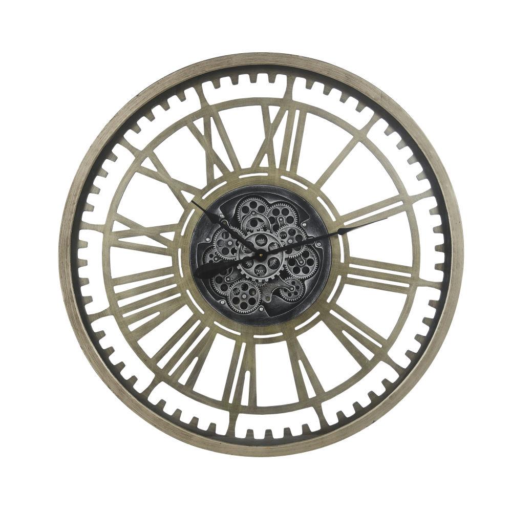 Horloge à rouages gris anthracite D90
