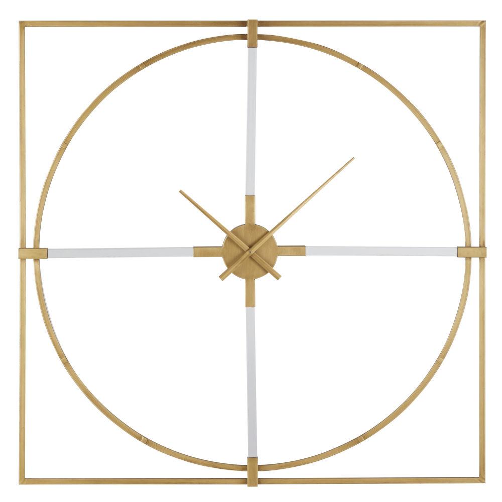 Horloge carrée en métal doré 100x100