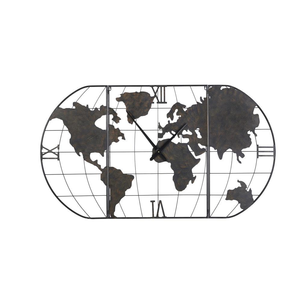 Horloge carte du monde en métal noir effet vieilli 141x80