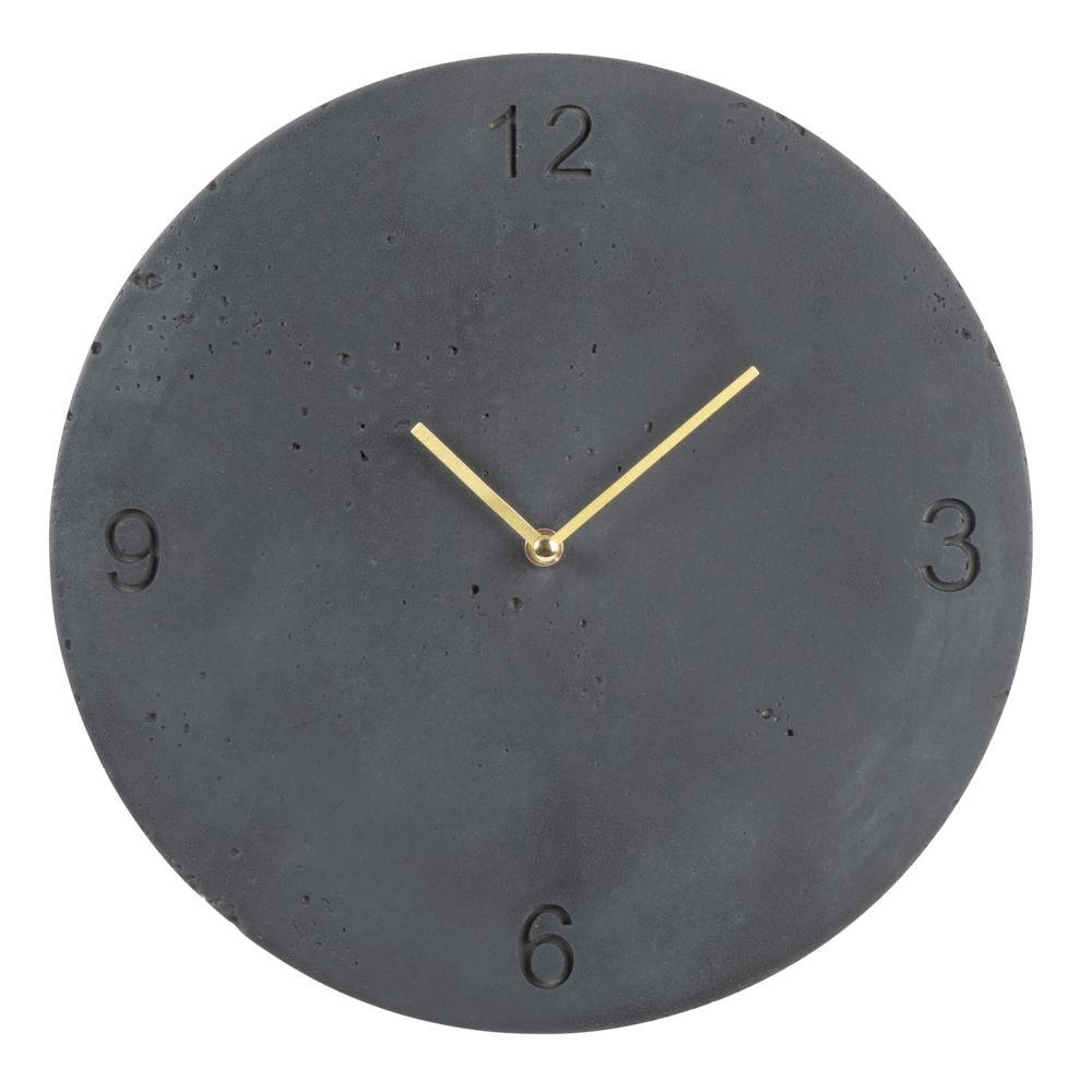 Horloge en ciment gravé gris anthracite D30