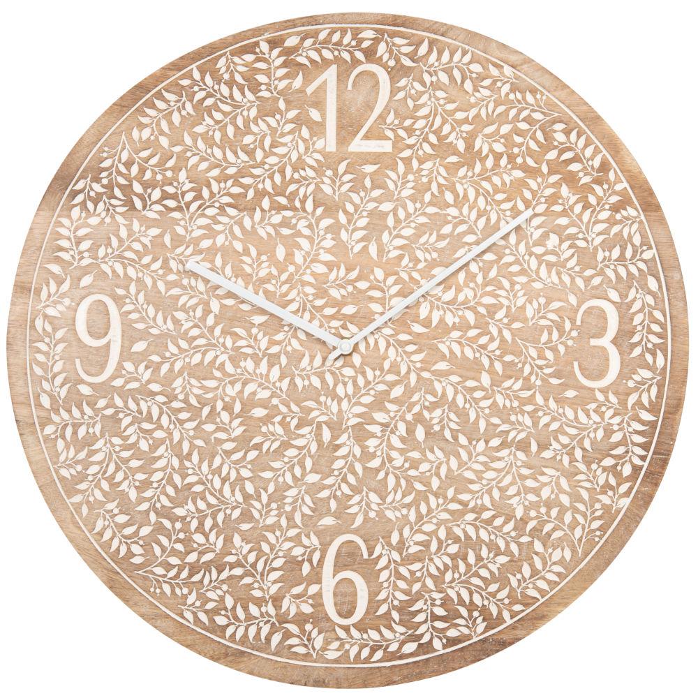 Horloge en manguier gravures végétales D51