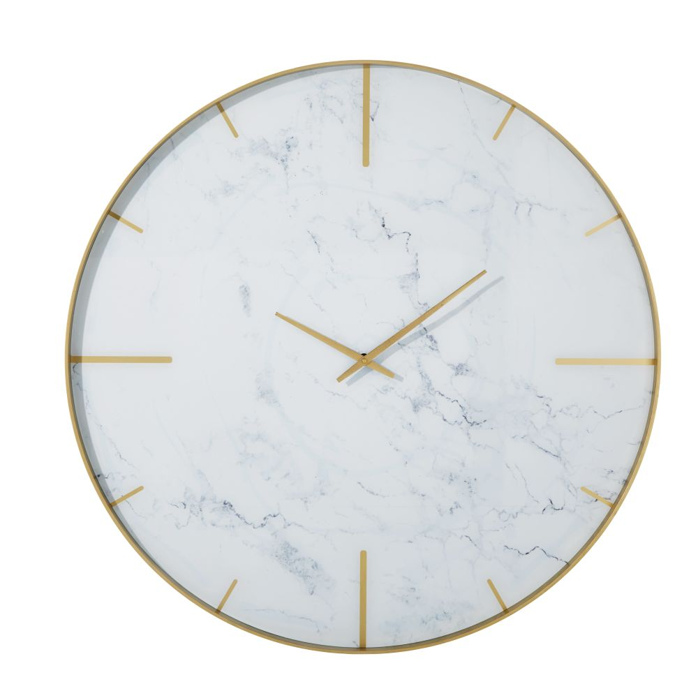 Horloge en métal doré et verre imprimé effet marbre D90