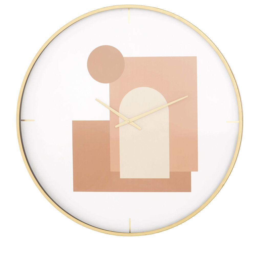 Horloge imprimée rose, rouge et blanche et métal doré D80