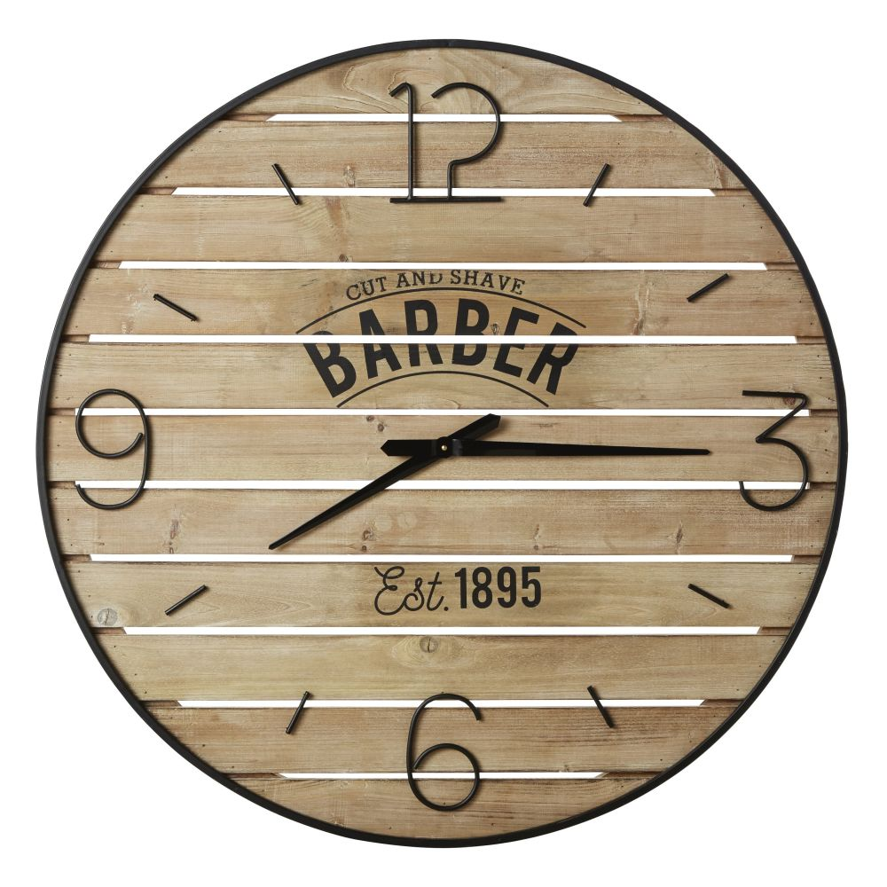 Horloge lattes en sapin imprimé et métal noir D95