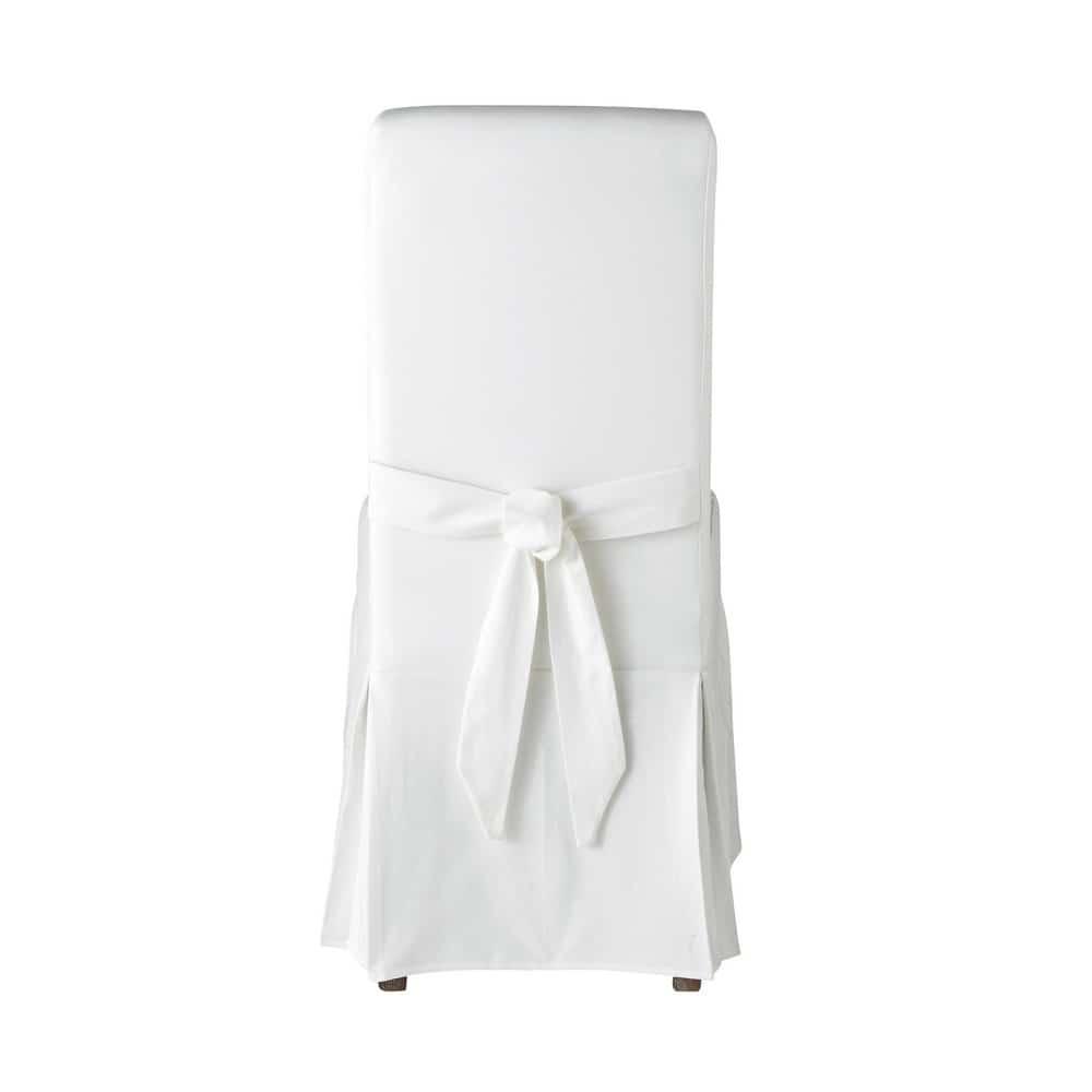 Housse de chaise avec nœud en coton ivoire
