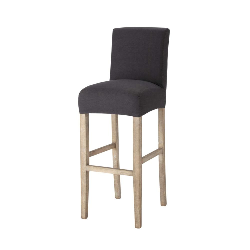 Housse de chaise de bar en coton anthracite