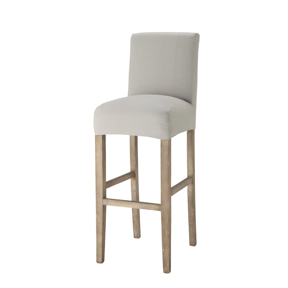 Housse de chaise de bar en coton gris clair