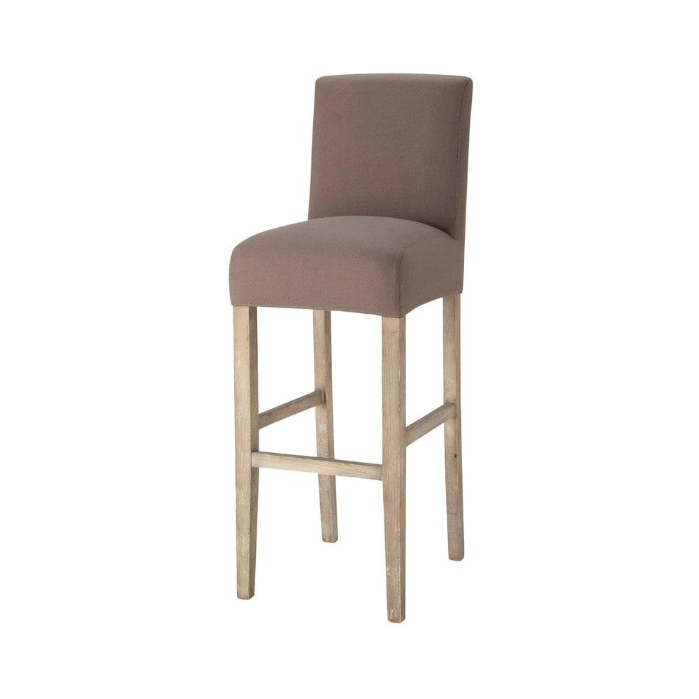 Housse de chaise de bar en coton taupe