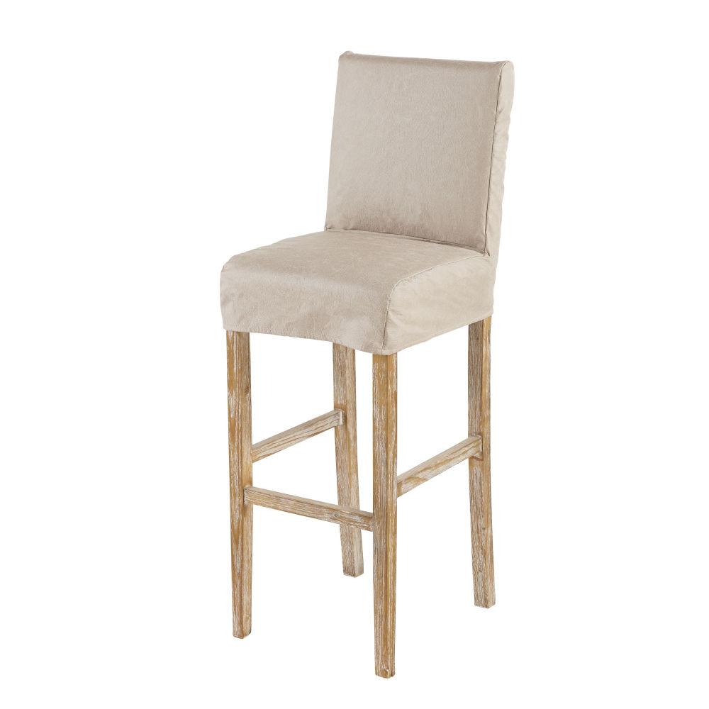 Housse de chaise de bar en suédine beige