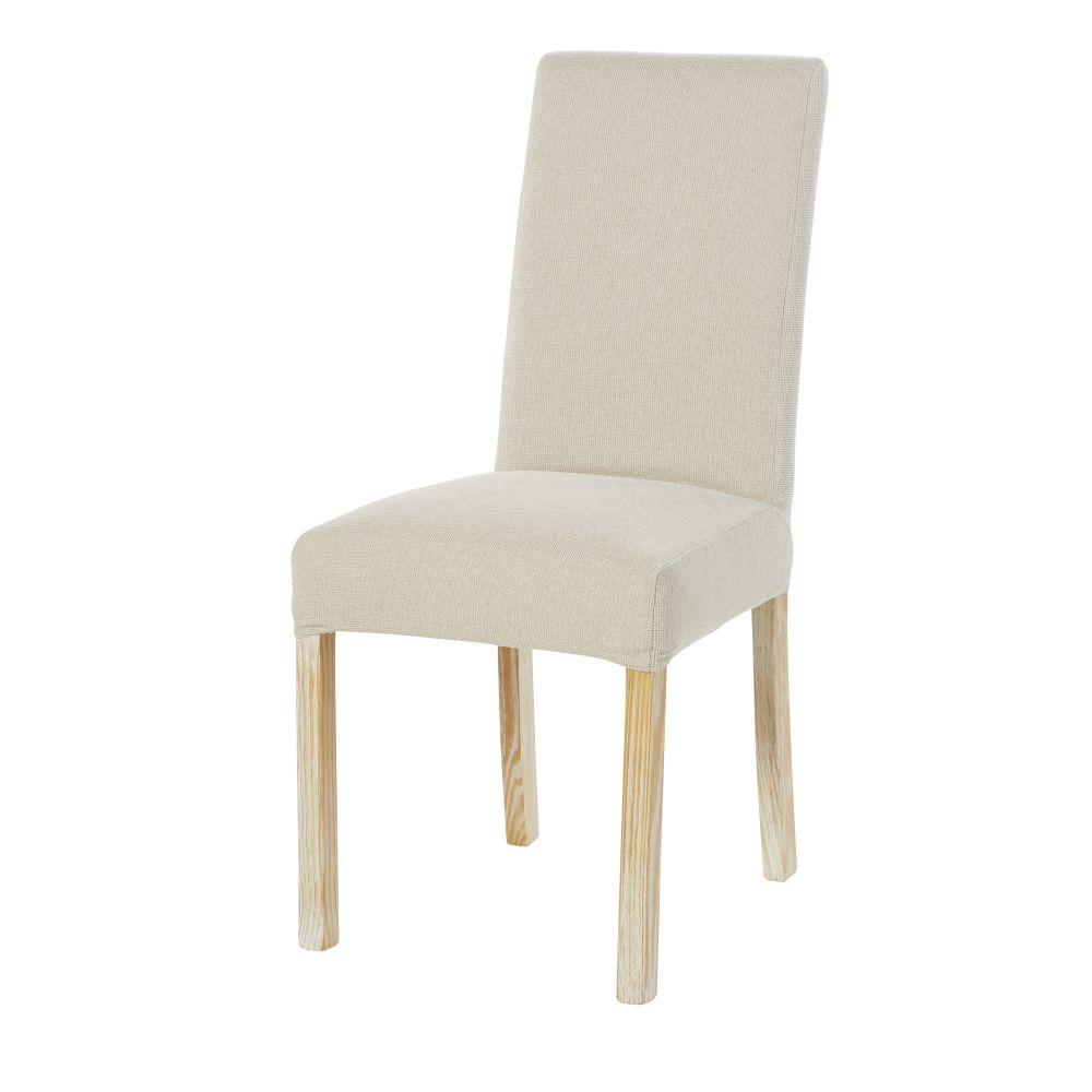 Housse de chaise en chenille écru