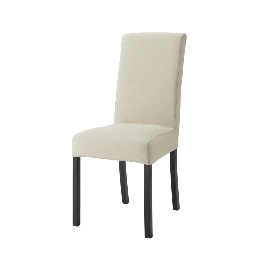 Housse de chaise en coton beige mastic 47x57