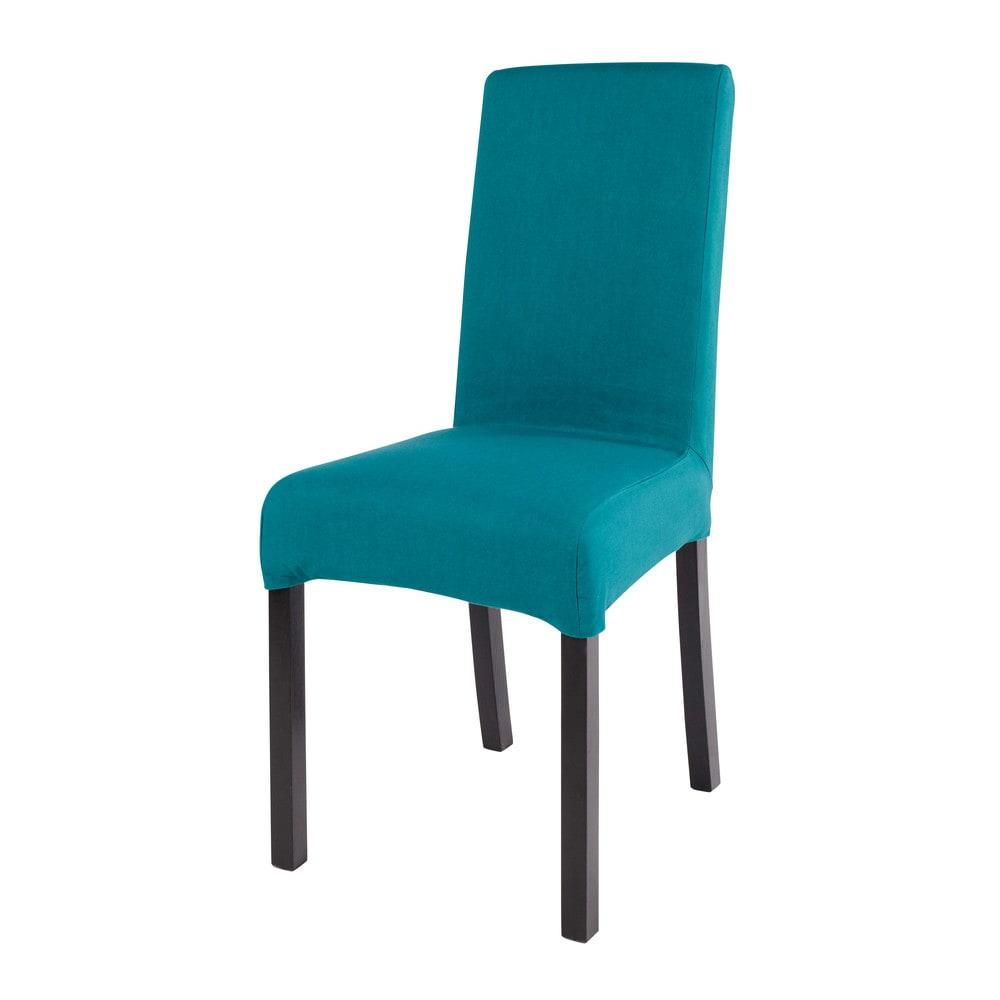 Housse de chaise en coton bleu canard 41x70