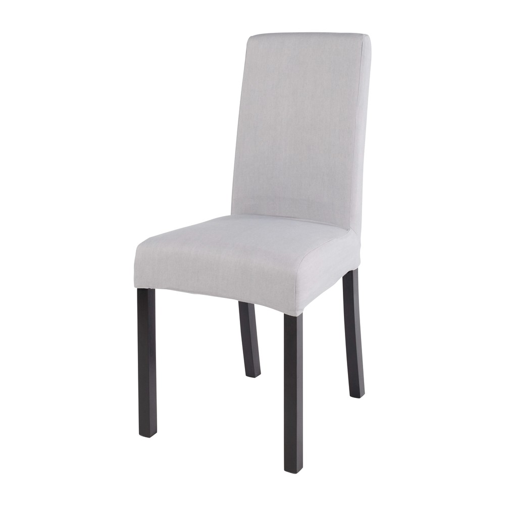 Housse de chaise en coton gris 41x70