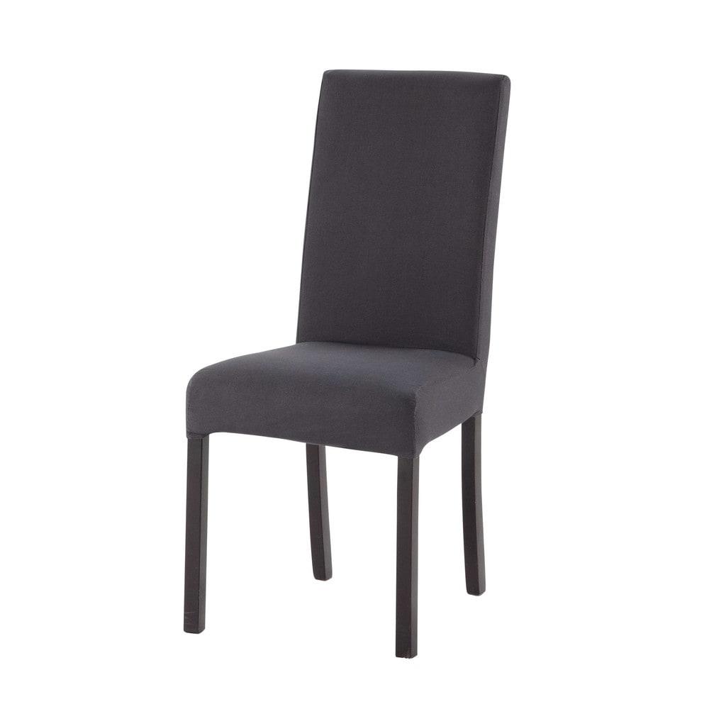 Housse de chaise en coton gris anthracite 47x57