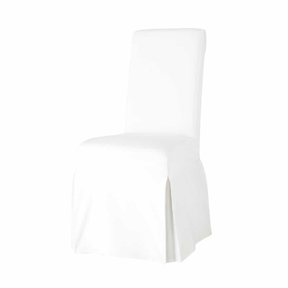 Housse de chaise en coton ivoire