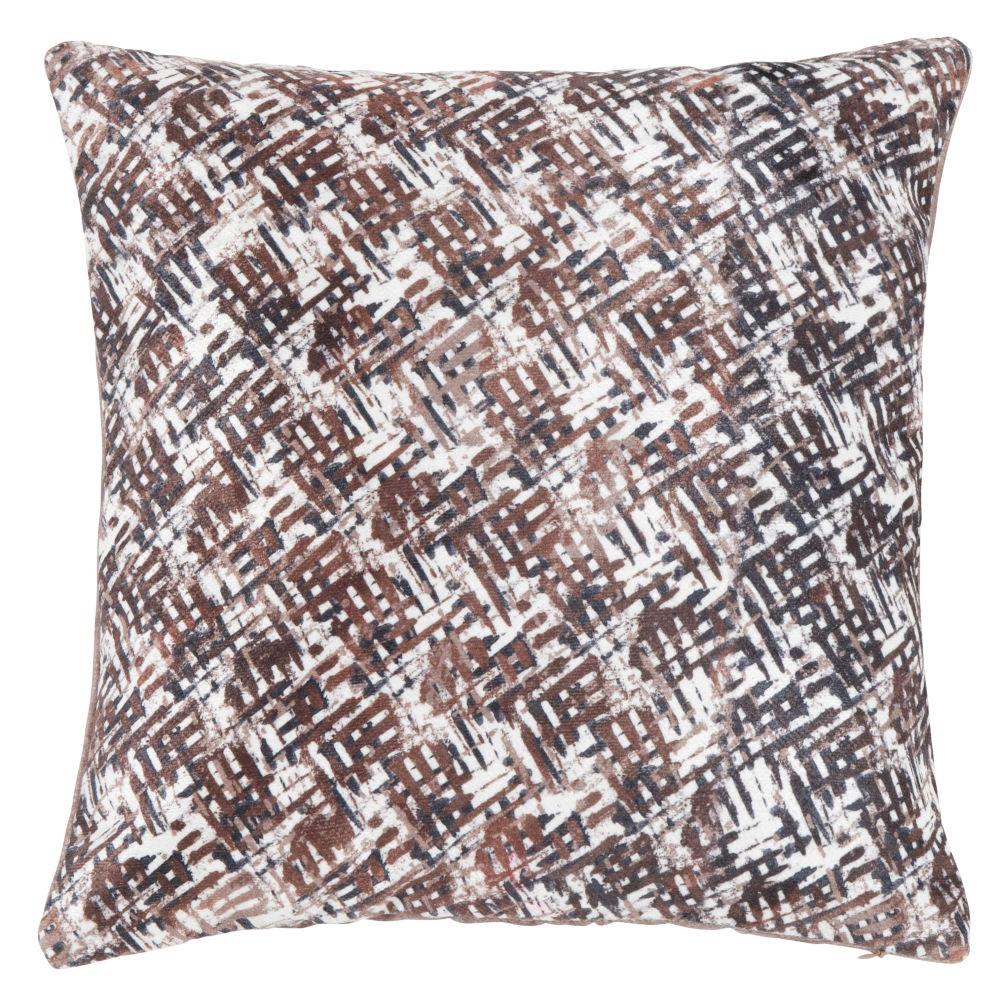 Housse de coussin à motifs écru, bronze, chocolat et gris anthracite 40x40